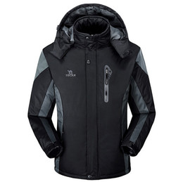 Wholesale silver winter coats for men - Winter Mens Waterproof Soft Shell Jackets Snowboard Outerwear for Men Fleece Jacket Warm Thick Clothing Coats for Male