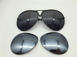 Wholesale Yellow Sunglasses Lenses - Car brand Carerras Sunglasses P8478 A mirror lens pilot frame with extra lens exchange car brand large size men brand designer