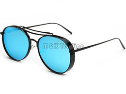 Wholesale Thick Frame Sunglasses - Hot 2016 South Korean V Sunglasses Tide Sunglasses With Thick Metal Edge Big Frame Glasses Wholesale Direct Sale