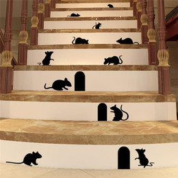 Wholesale Chinese 3d Posters - 100pcs 9 cute mouse hole wall stickers room decoration ZY705 3D diy vinyl adesivos de paredes home decals animals mural art poster 4.5