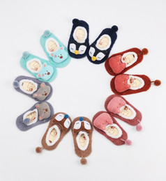 Wholesale Baby Low Cut Socks - 2016 coral fleece baby kids ankle socks winter for girls boys cartoon low cut floor socks crew children cotton sock meias 0-3y