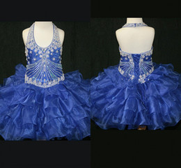 Wholesale Cute Green Cake - Royal blue organza Cute Cup Cake Girls Pageant Dresses 2017 beaded halter toddlers prom party dresses pageant gowns flower girl dress