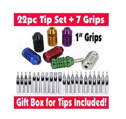 "Wholesale Tattoo Kit Free Gift - Wholesale-Set of 22 Stainless Steel Tattoo Tips + 7 Aluminum 1"" Grips & Tubes Kit Gift Box Free Shipping"