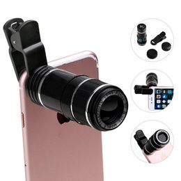 Wholesale Mobile Phones Telescope Camera 12x - Newest Universal 70 Degree 20mm 12X Magnification Zoom Optical Mobile Phone Telescope Camera Lens With Clip For iPhone 5 6 7 8 LG