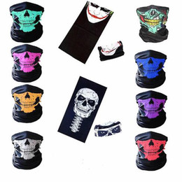 Wholesale Skeleton Face Scarf - Halloween Skull Face Masks Skeleton Magic Skull Scarves Outdoor Sports Cap Neck Ghost Headband Cycling Motorcycle Bandanas CCA7804 200pcs