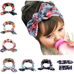Wholesale Kids Cotton Headbands - 6 Colors Flora Print Bow Knot Baby Girls Hairband Rabbit Ear Bowknot Headband Cotton Head Band for Kids Girls KB519