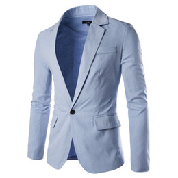 Wholesale Male Straight Jacket - New 8 color high quality men casual linen suits spring autumn fashion male leisure suit jacket Blazers costume homme