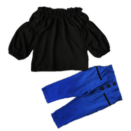Wholesale Chiffon Tops For Kids - Girls Off collar outfits 2pc sets black off shoulder chiffon top+blue pants kids chic clothing for 1-5T