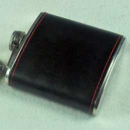 Wholesale Leather Pocket Flask - 6oz Hip Flask Portable Stainless Steel Flagon Faux Leather Wine Bottle Retro Pocket Flask Russian Flagon free shipping