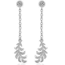 Wholesale Jade Leaves - JEXXI Korean Fashion Charm Silver Jewerly Simple Leaves Design Long Tassel Drop Earrings For Women Dangle Crystal Earring