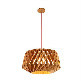 Wholesale drop pendant lighting - Honeycomb pendant light DIY led wooden suspending chandelier lamp led drop Lamp w  Red wire adjustable bar dining light fixture