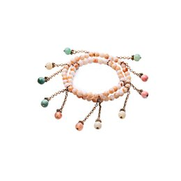 Wholesale Marble Beads Wholesale - 2016 Color Bubble Tassel Bracelet Beaded Marble Round Beads Bracelets Vintage Gold Plated Popular for Lady Free Shipping