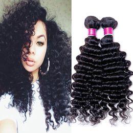 Wholesale Malasian Virgin Hair Weave - 7A peruvian deep wave virgin hair 3pcs brazilian malasian indian mongloian peruvian virgin hair deep wave curly 8-26 inch human hair weaves