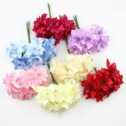 Wholesale Silk Lily Bouquets - 5cm Silk Lily Flowers Bouquet Artificial Fabric Butterfly flower For Wedding Wreath Scrapbooking Decoration ,72pcs lot