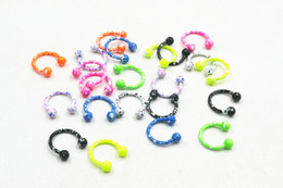 Wholesale 16g Lip Studs - 100pcs 16G~1.2mm New Horseshoes Ball Ring Nose Ear Lip Nipple ring Mulit Use Ring body piercing jewelry CBR New Colorful 1.2X8X3mm