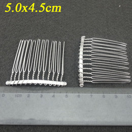 Wholesale Metal Tooth Comb - 50pcs Imitation silver Metal Combs 12 Teeth Hair Accessories 50x45mm for sinamay fascinator hair accessories wedding accessorie