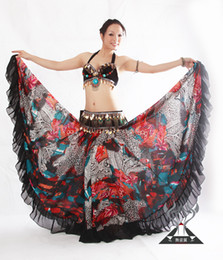 Wholesale Long Belly Dancing Skirts - Wholesale-New Tribal Bohemian Style Women Chiffon Floral Printing Big Swing Floor-Length Long Skirts Ladies Belly Dance Skirt