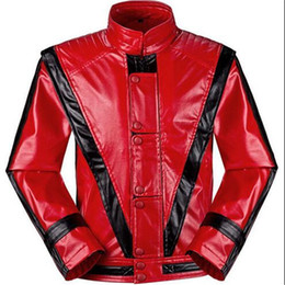 Wholesale Men S Red Leather Jacket - Wholesale- RARE MJ Michael Jackson Thriller Children Kids Jacket Costumes Red Patchwork XXS-4XL Top Quality Faux Leather Outwear with Glove