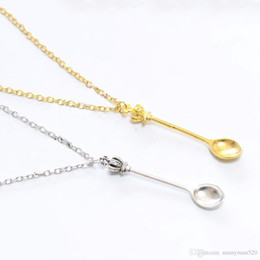 Wholesale Gold Spoon Charm - New Fashion Women Vintage Mini Crown Spoon Shape Pendant Necklace Charm Chain Jewelry Gifts Free Shipping