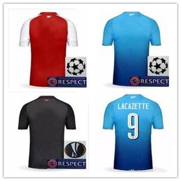Wholesale Football Jersey Printing - 17 18 Champions Soccer Jersey #9 LACAZETTE Maillot Alexis Sanchez OZIL Away Blue 2017 2018 Cup Shirts Club Printing Xhaka Football Shirts