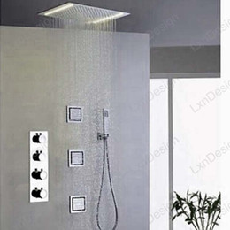 Wholesale Shower Ceiling Mount - Embeded Ceiling Mounted Bathroom Mirror Finish Stainless Steel Shower Set Faucet With LED Electric Light Shower Head & Hand Shower Spray
