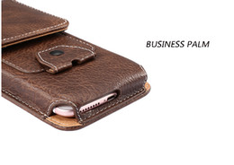 Wholesale Holster Business Card Case - Handcrafted Universal Holster Classic Black And Business Brown Cell Phone Holster Bag Smartphone Pouch Belt Case Waist Pocket