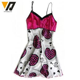 Wholesale Wholesale Silk Night Shirts - Wholesale-Nightgown Womens Lingerie Night Dress Satin Silk Sleepwear Pattern Robe Nightdress Sleepshirts Pink L-XL