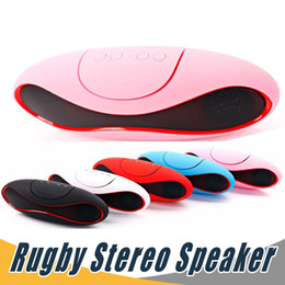 Wholesale Ball Mp3 - Mini Rugby Stereo Blutooth Speaker Portable Wireless Subwoofer HiFi Speaker Rugby Ball Handsfree For Smartphone with USB TF AUX FM