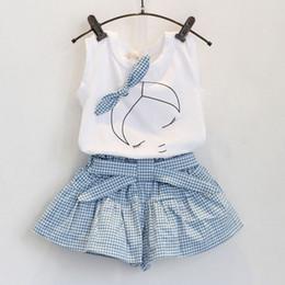Wholesale Grid Girls Clothing - 2016 new summer lovely girls Short Sleeve T Shirt + grid pantskirt set Children Outfits baby kids girl bowknot headband clothes