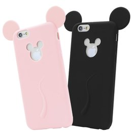 Wholesale Iphone 4s Protect - 2016 Cartoon 3D Mickey Mouse Ear Case Soft Silicone TPU cover Cute Candy Colors Full protect dustproof Cases For iphone 4 4s 5 5s 6 6s plus