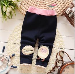 Wholesale Wool Leggings Girls - Wholesale 2016 cute cartoon little lamb warm thicken wool cotton elastic waist winter pants baby girl clothes leggings kids 0-2