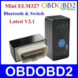 Wholesale Elm327 Switch - Wholesale-Top Selling Mini ELM327 Bluetooth V2.1 OBD2 Diagnostic Tool ELM327 Power Switch Works On Android Symbian Windows Free Shipping