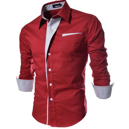Wholesale Single Clothing Plus Size - New 4Colors Man Shirts Long Sleeve Single-breasted Pocket Dress Shirts Men Clothing Patchwork Turn-down Autumn Plus Size M-3XL