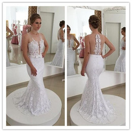 Wholesale Top Designers Mermaid Dresses - 2016 Designer wedding gown white elegant sheer top lace appliques bridal dress with a bow sash lace wedding dress