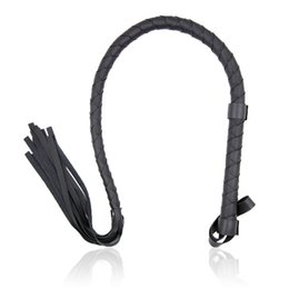 Wholesale Leather Strap Spanking - Delicate Black PVC Leather Whip Lash Strap Sex Toys Couple Game Flog Toy Sex Whip Paddles Sexy Adult Games Spanking Floggers