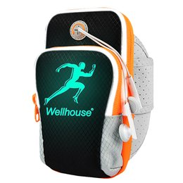 Wholesale Reflective Bag Cover - Wholesale- Waterproof Sport Armband Case For Samsung Glaxy Note Polyesester Reflective Unisex Bags For Running Wrist Case Cover For Phone