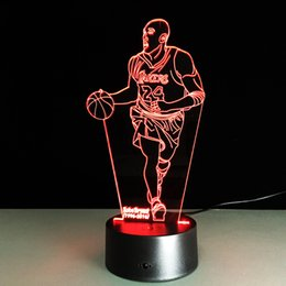 Wholesale Table Lamps For Children - Touch Light Switch 3D New Table Kobe Bryant Night Light Table Lamp LED Night Shimmering Colorful Gift For Child At Home decoration