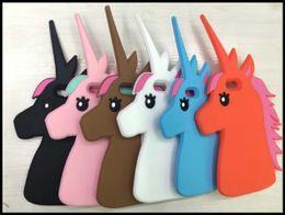 Wholesale Iphone4s Cases Cartoon - Unique 3D Cartoon Unicorn Design Soft Silicone phone case Cover for iphone4S iphone5S iphone6 6S 6plus