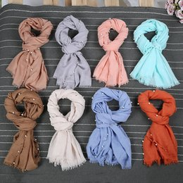 Wholesale Cotton Voile Shawls - Plain Solid Pearl Beads Viscose Scarf Shawl High Quality Wrap Cotton Voile Bandanas Headband Winter Stole Snood Muslim Hijab Drop Shipping