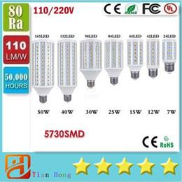 Wholesale E27 Cree Led 25w - 2016 New 7W 12W 15W 25W 30W 40W 50W E27 E14 5730 SMD LED Bulb light 220V Chandelier lighting LED Corn lamp Spotlight