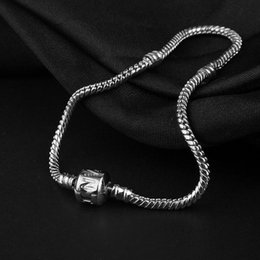 Wholesale silver barrel beads - hot sale 18-21cm Silver Plated Bracelet Snake Chain with Barrel Clasp Beads Padora Bracelets Jewelry free shipping
