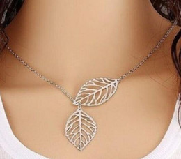 Wholesale Chunky Silver Link Chain Necklace - 10pcs Antique Silver Double Leaves Chain Charms Choker Chunky Statement Bib Necklace Pendants For Women Jewelry Gifts Accessories DIY M2195