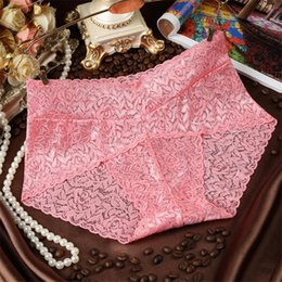Wholesale Lady Underwears - Women Sexy Transparent Underpants Briefs With Lace Mid Waist Underwear Ladies Body Sculpting Women's Triangle Underwears