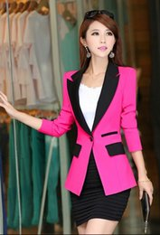 Wholesale Sexy Long Sleeve Outwear - 2016 new spring autumn Fashion Womens Lady Sexy Slim OL Blazer Jacket Coat Blazer Casual Suit Outwear