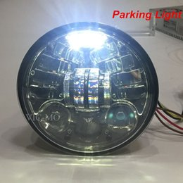 Wholesale Universal Chrome Headlight - 5-3 4 5.75 Inch Daymaker Projector LED Headlight With Parking Lights for Harley Davidson Motorcycles Headlamp Black Chrome LAMPS