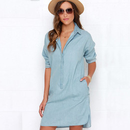 Wholesale Old Women Shirt - 2016 New Fall Side Split Long-Sleeved Dress Do Old Turn-Down Collar Casual Dresses Female Denim Dress Light Color