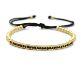 Wholesale Tube Beads Wholesale - Top Quality Men & Women Jewelry, 4mm High Grade Bronze Beads Cubic Zirconia Curved Long Tube Bar Braided Macrame Bracelets