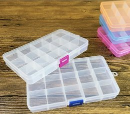 Wholesale Small Jewelry Boxes Wholesale - 15 Compartment Plastic Clear Storage Box Small Box for Jewelry Earrings Toys Container Free Shipping wen4343
