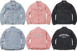 Wholesale Vintage Western Jackets - 17SS Studded Denim Trucker Jacket Coat Western Cowboy Shirt Outwear Pink Men's Slim Personalized hat Design Hoodies & Sweatshirts Jacket