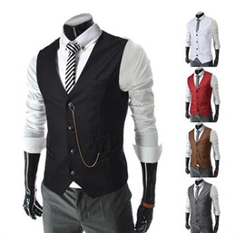 Wholesale Stylish Groom Vests - Slim Businessman Vests Stylish Wedding Groom Waistcoat V-neck Best Man Groomsmen Business Man Vests Outerwear Coats mix order